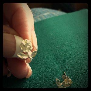 Jewelry - Sterling Silver Flower Earrings Rhodium Plated